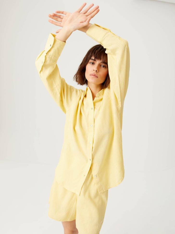 Удлиненная льняная рубашка (желтый, XS)