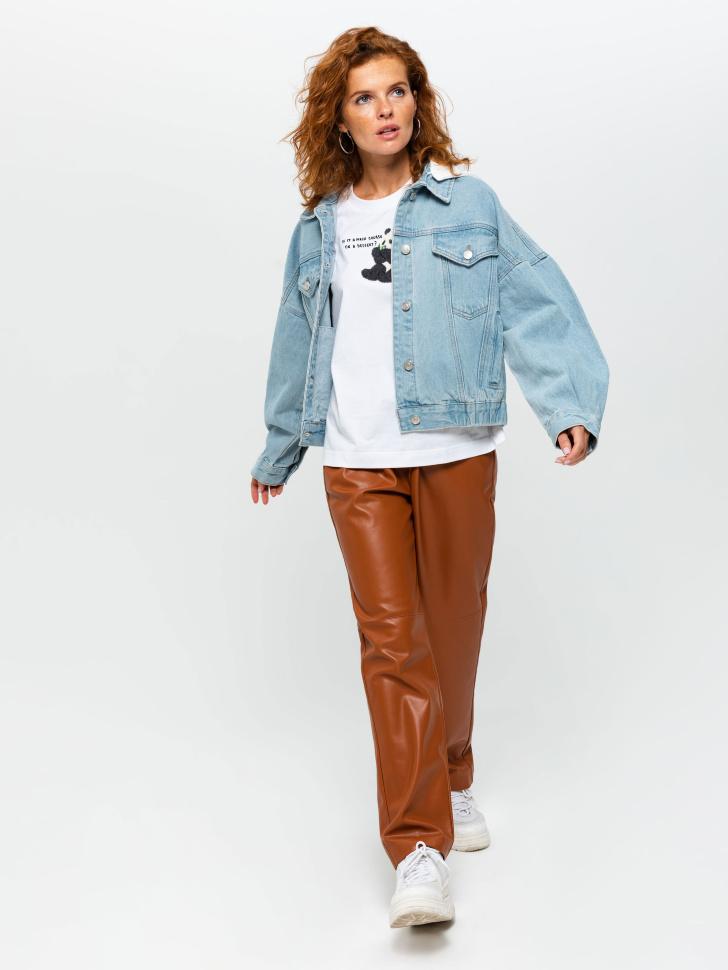 SELA Джинсовая куртка с капюшоном (принт, S)