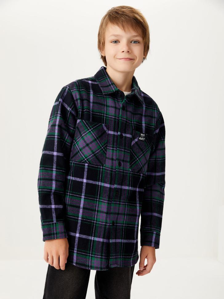 Рубашка в клетку для мальчиков (фиолетовый, 134/ 9-10 YEARS)