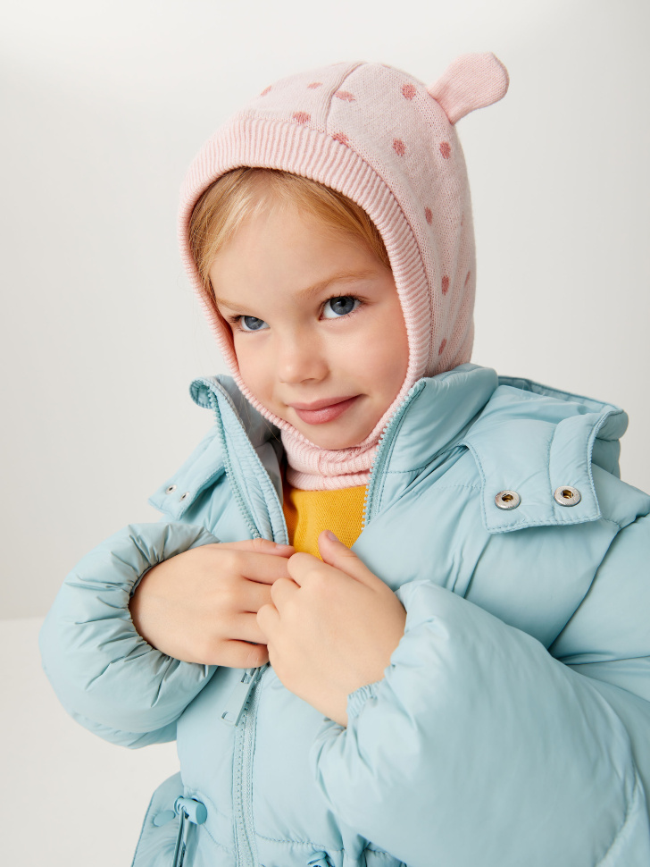 Трикотажный капор с ушками для девочек