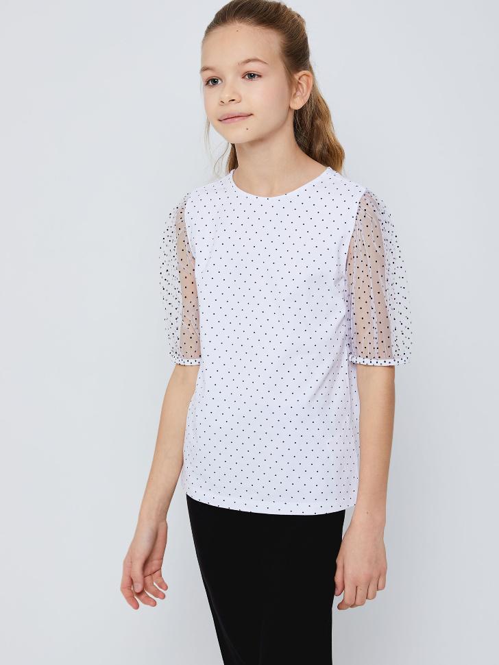 Блузка в горошек для девочек (белый, 146/ 11-12 YEARS)