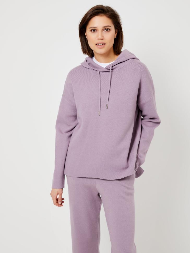 Худи из вязаного трикотажа (фиолетовый, XL)