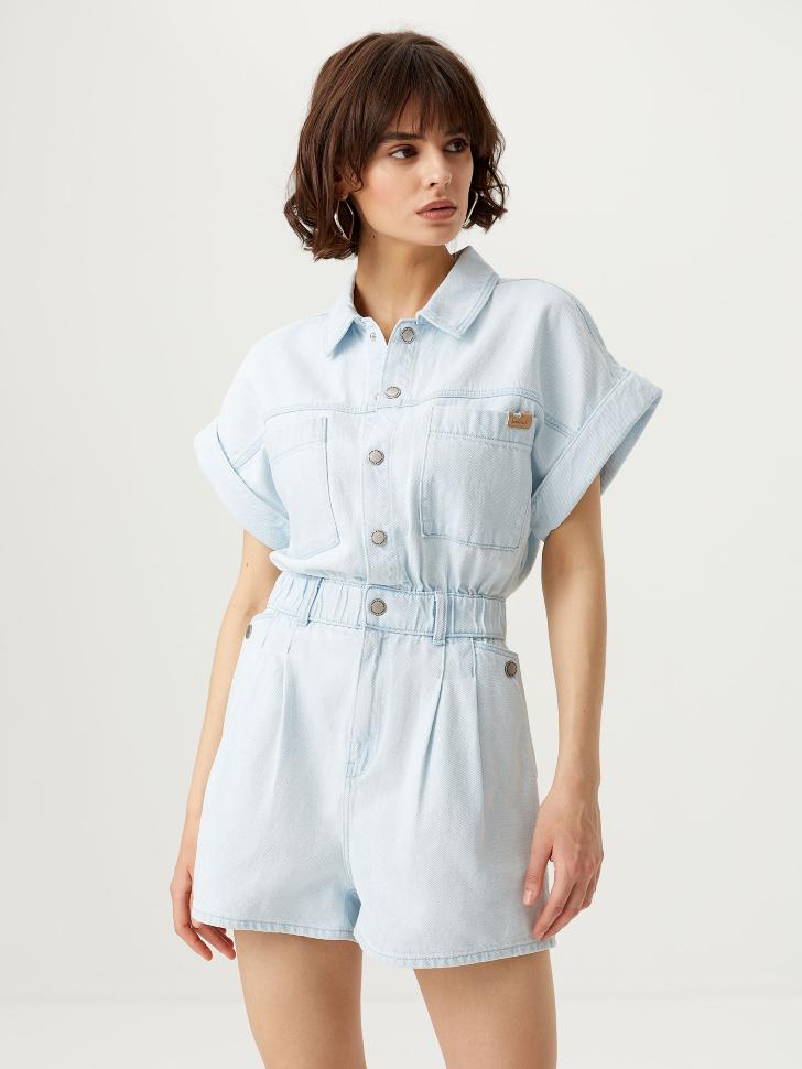 Короткий джинсовый комбинезон (синий, L)
