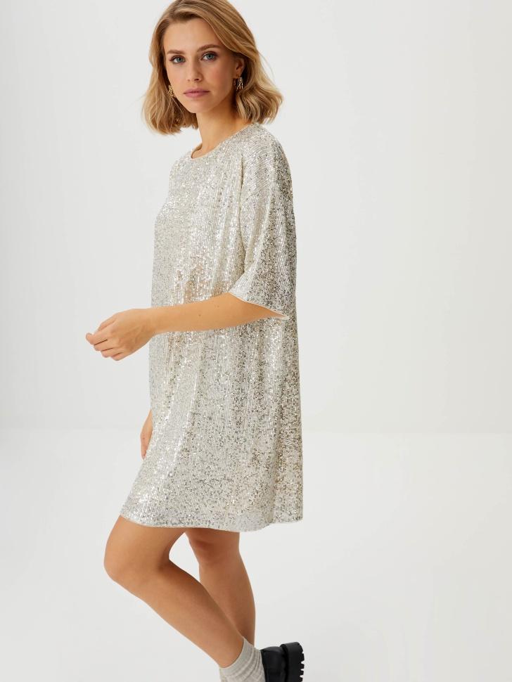 Платье-футболка с пайетками (золото, M)