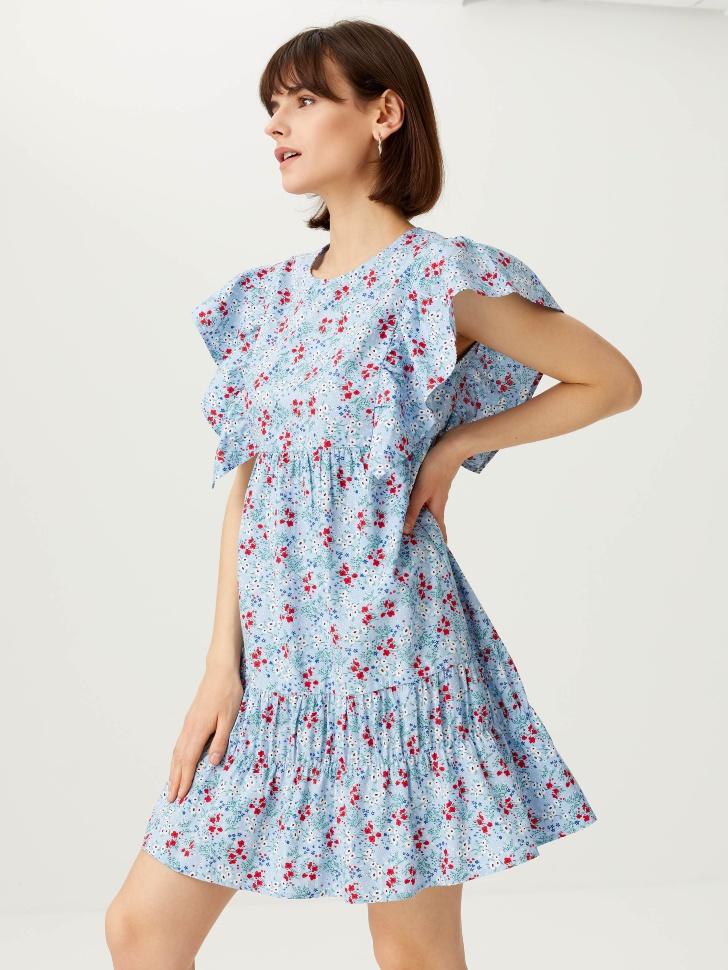 Платье с пышными рукавами-крылышками (голубой, XS)