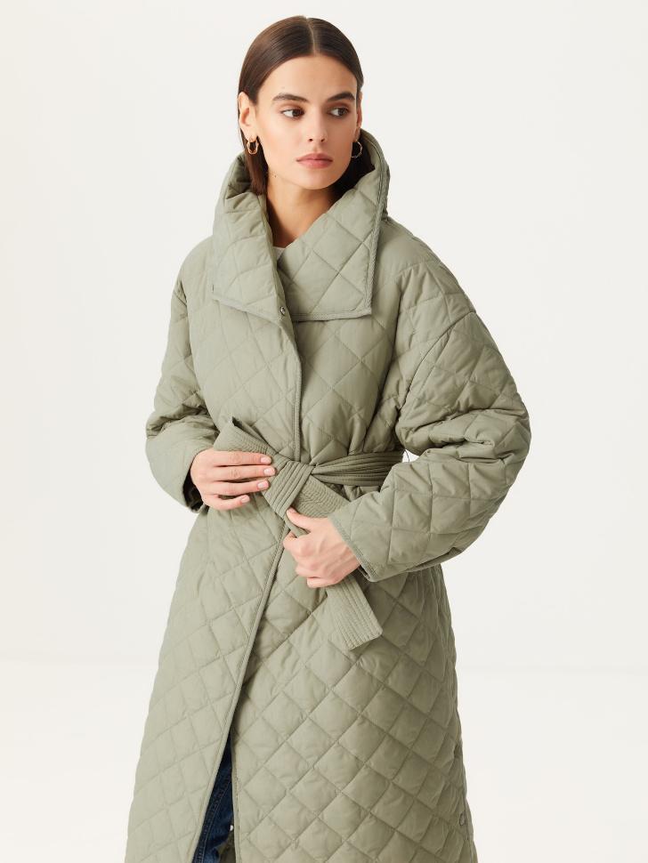 Стеганое пальто (зеленый, XS)