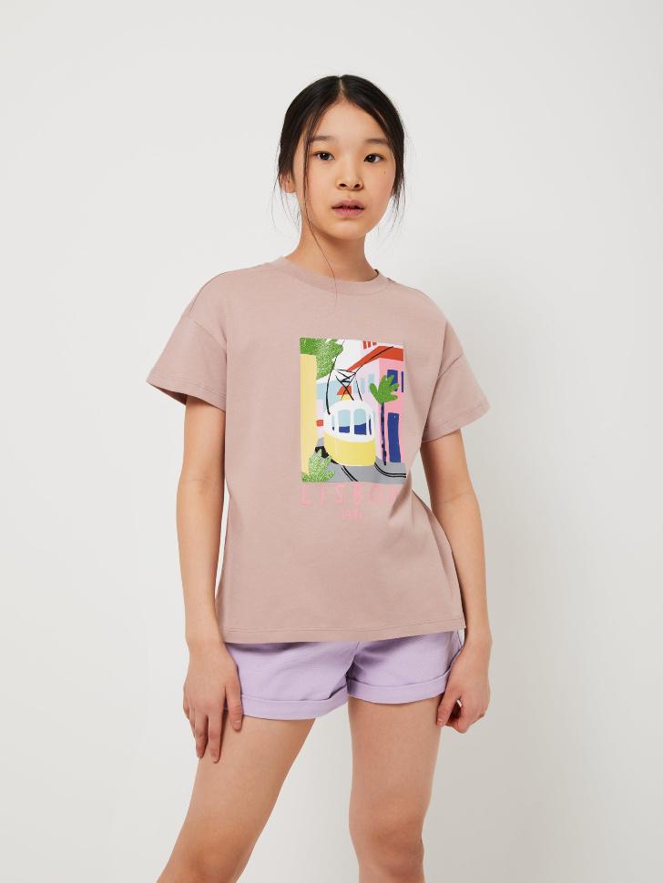 SELA Футболка с принтом для девочек (розовый, 128/ 8-9 YEARS)