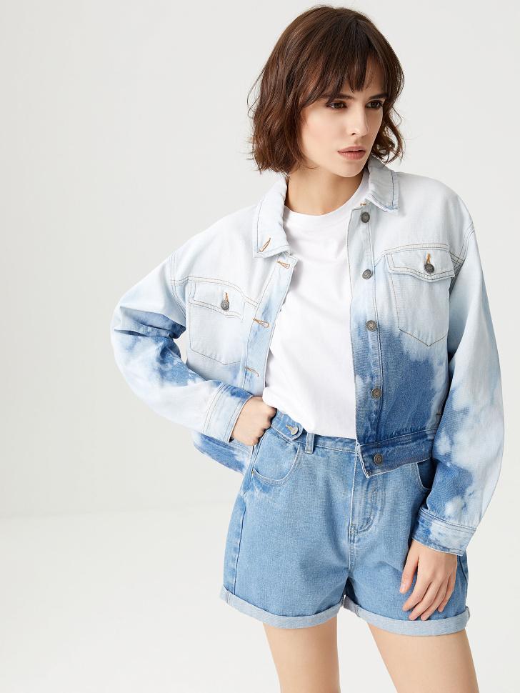 Джинсовая куртка с эффектом тай-дай (синий, M)