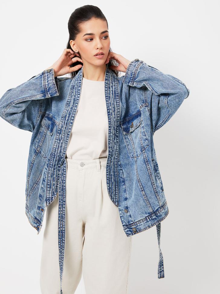 Джинсовая оверсайз куртка-кимоно (синий, M)