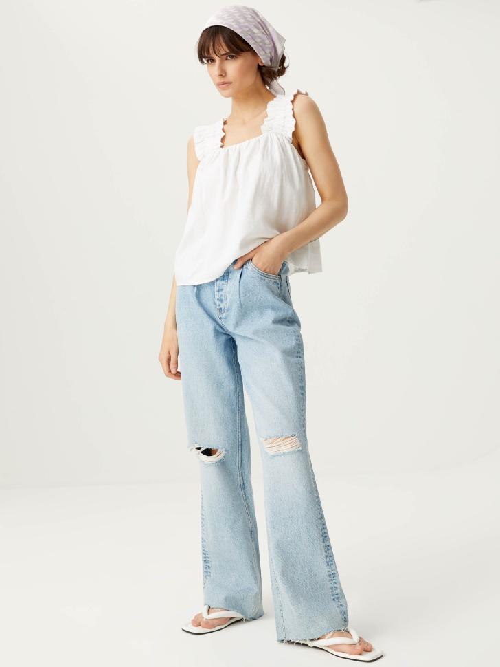 брюки джинсовые женские (голубой, XL)