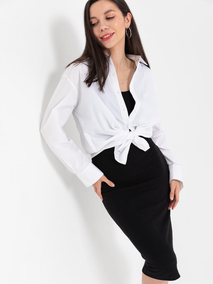 SELA Платье из трикотажа в рубчик (черный, XS)