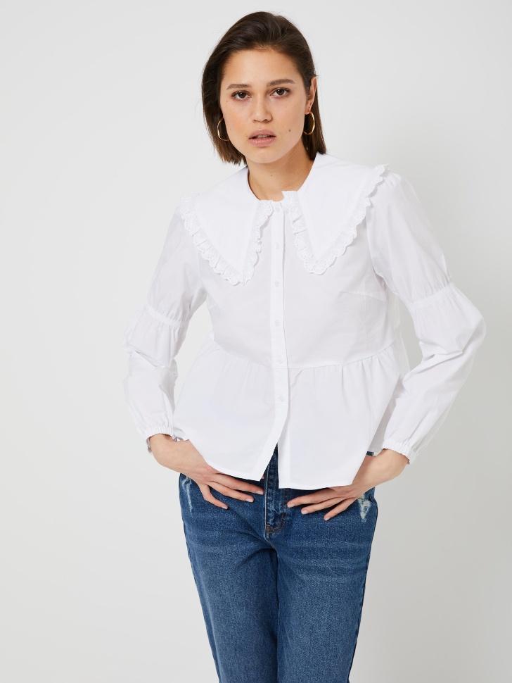 Блузка с широким воротником и баской (белый, M)