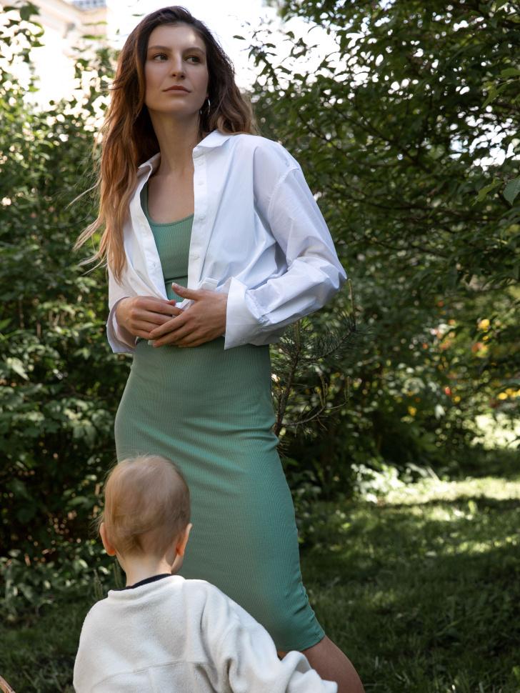 SELA Платье из трикотажа в рубчик (зеленый, L)