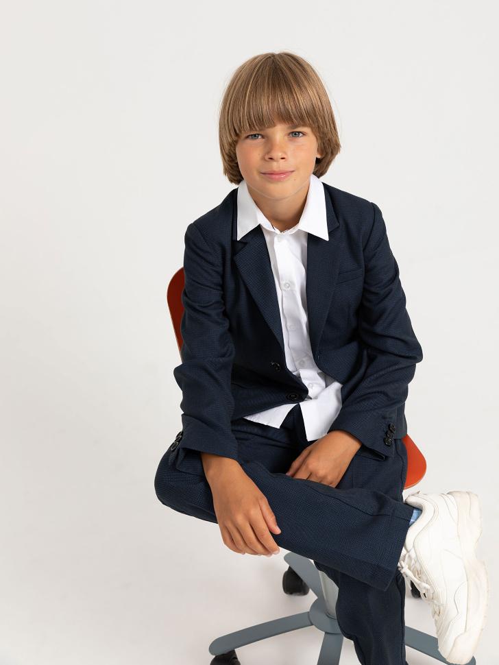 Пиджак из фактурной ткани для мальчиков (синий, 122/ 7-8 YEARS)