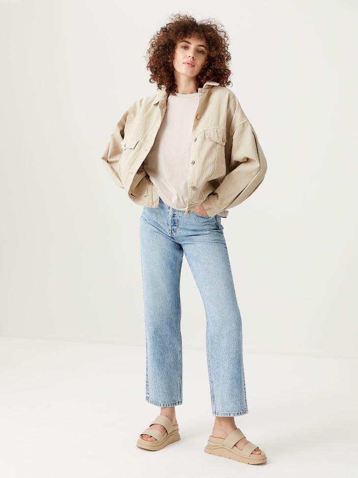 Прямые джинсы (синий, M)