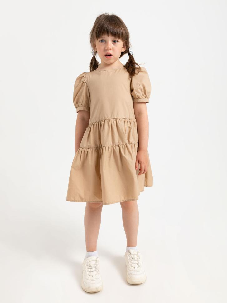 SELA Ярусное платье для девочек (бежевый, 116/ 6-7 YEARS)
