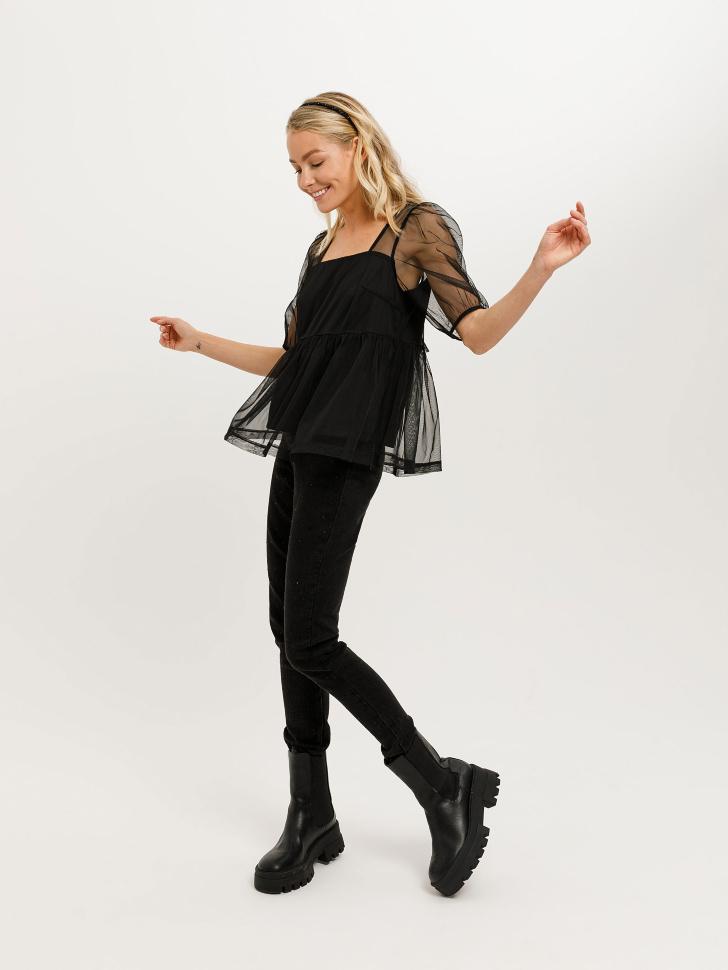 Блузка из сетки (черный, XS)