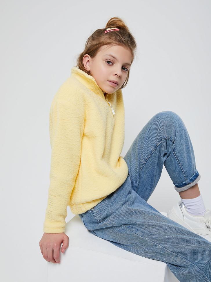 Флисовый джемпер для девочек (желтый, 128/ 8-9 YEARS)