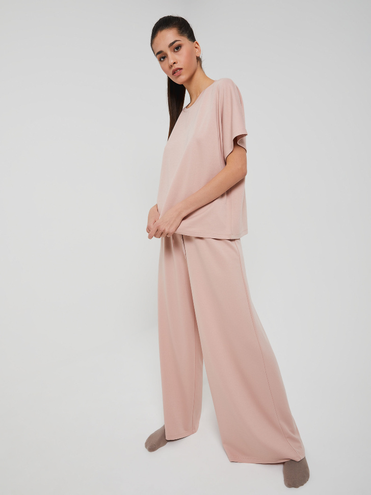 Трикотажная пижама (розовый, S)