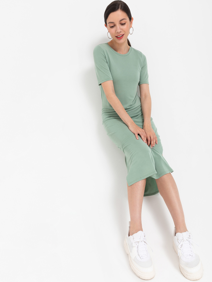 SELA Платье-футболка (зеленый, XS)