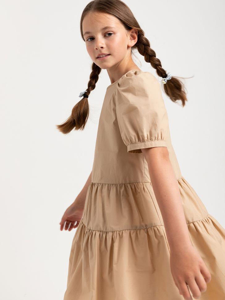 SELA Ярусное платье для девочек (бежевый, 140/ 10-11 YEARS)