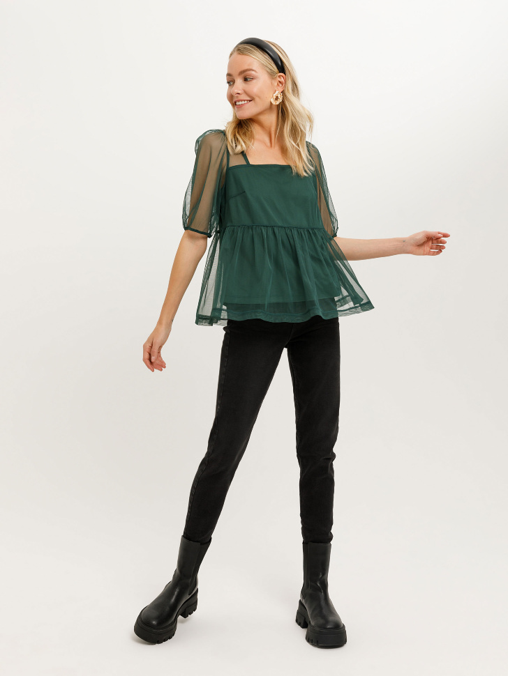 Блузка из сетки (зеленый, S)