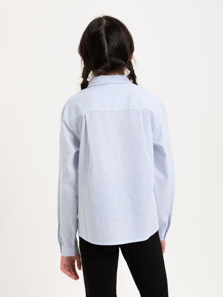 блузка в полоску для девочек (голубой, 122)