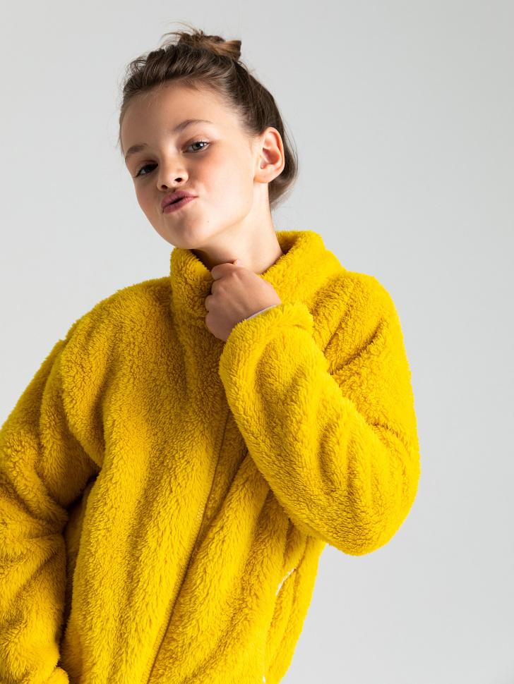 Толстовка из искусственного меха для девочек (желтый, 146/ 11-12 YEARS)
