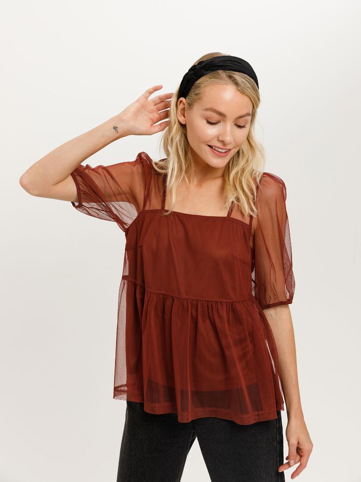 Блузка из сетки (коричневый, XS)
