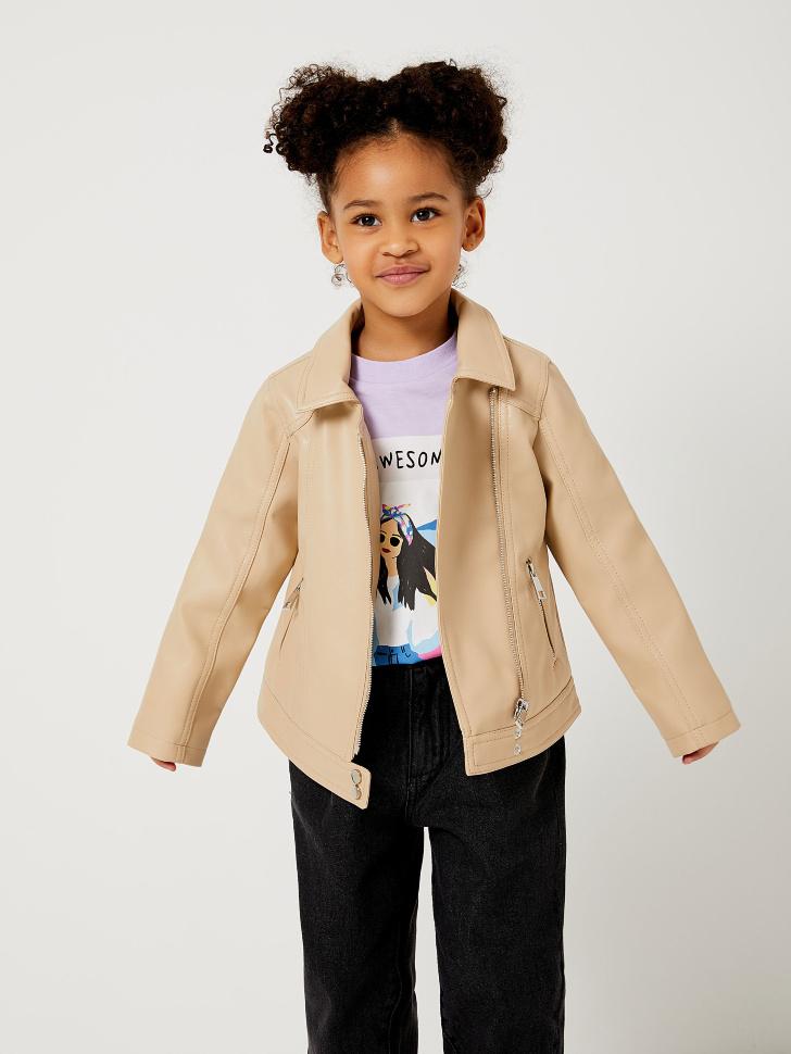 Куртка-косуха для девочек (бежевый, 98/ 3-4 YEARS)