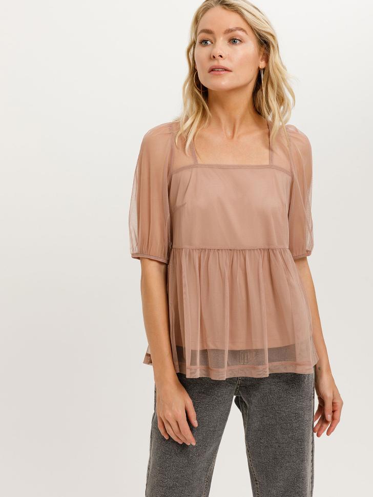Блузка из сетки (розовый, L)
