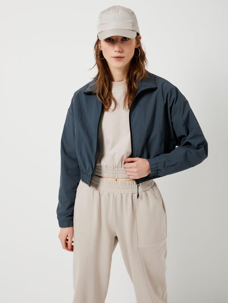 Укороченная куртка из нейлона (серый, S)