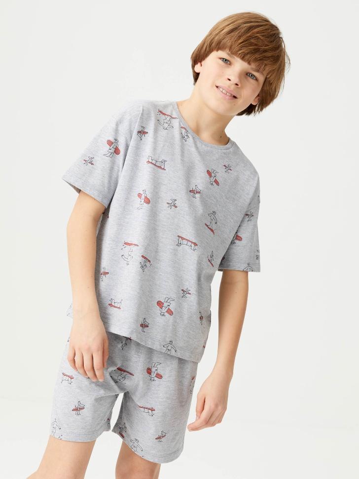 Трикотажная пижама с принтом для мальчиков (серый, 122-128 (7-8 YEARS))