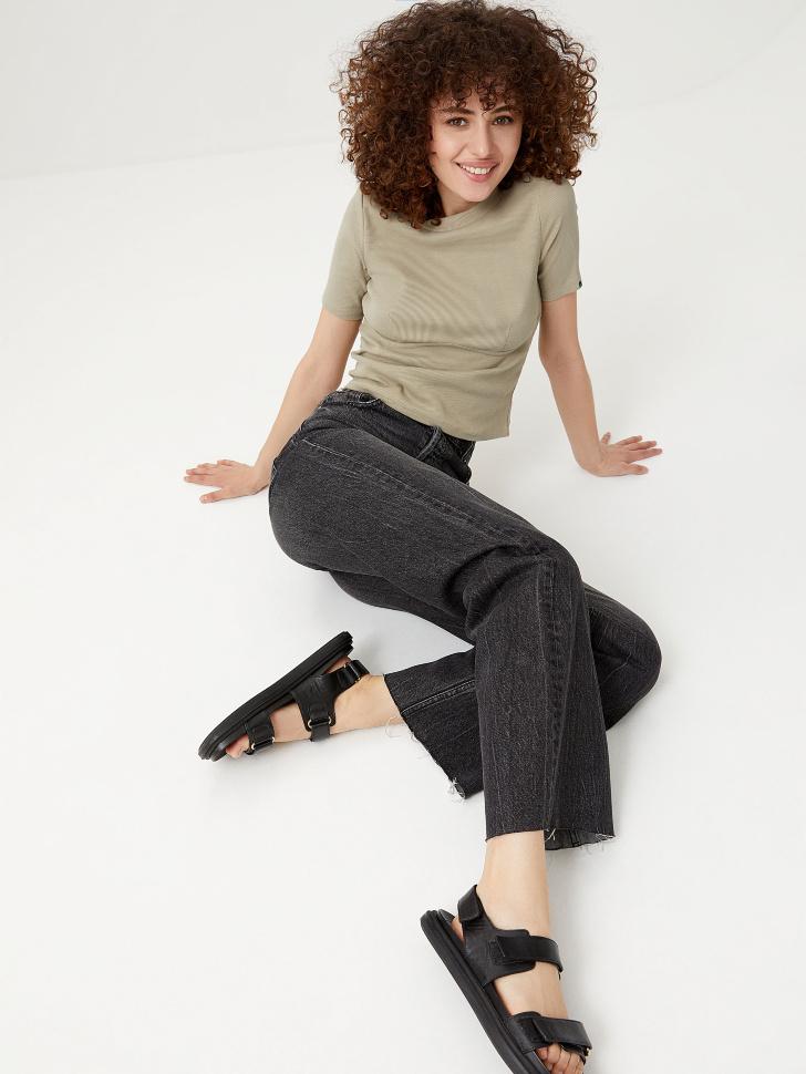 Прямые джинсы (серый, L)
