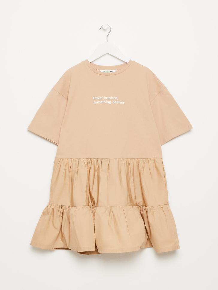SELA Ярусное платье-футболка для девочек (бежевый, 122/ 7-8 YEARS)