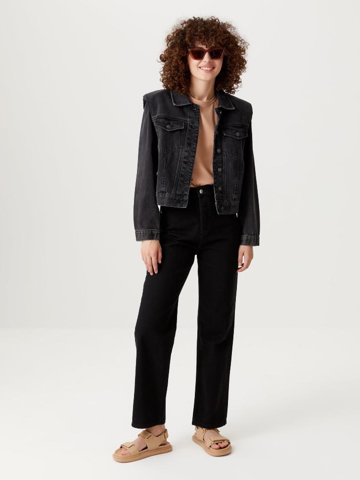 Джинсовая куртка с подплечниками (серый, L)