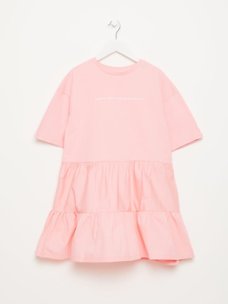 SELA Ярусное платье-футболка для девочек (розовый, 146/ 11-12 YEARS)