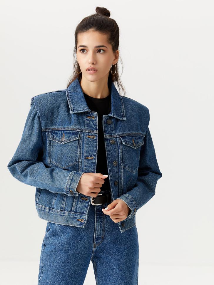 Джинсовая куртка с подплечниками (синий, M)