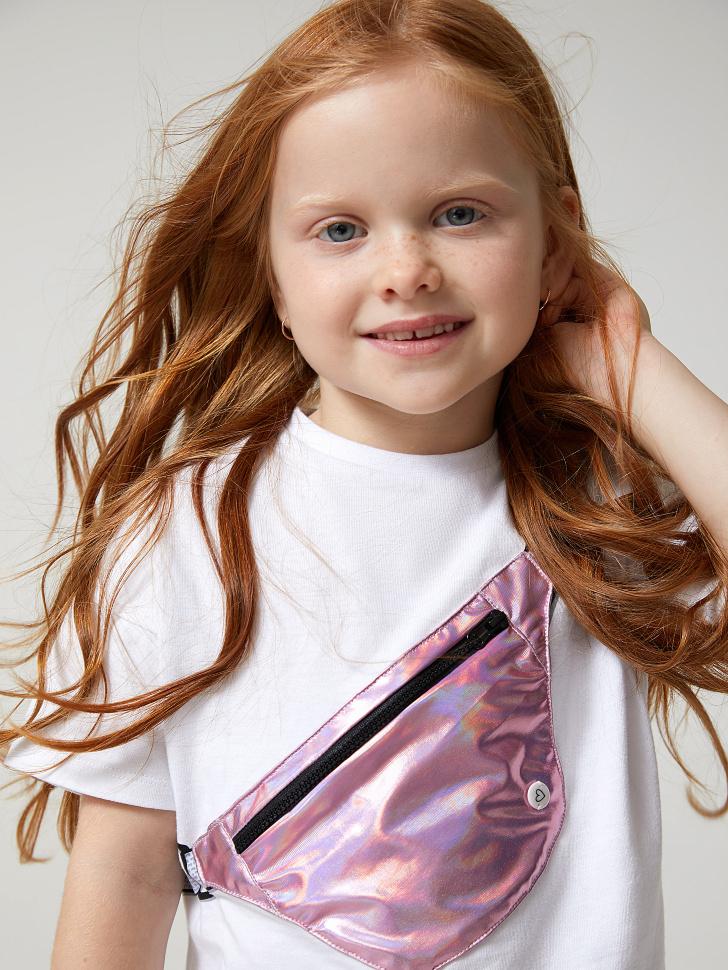 Купить со скидкой футболка для девочек с карманом в виде сумки (белый, 98)