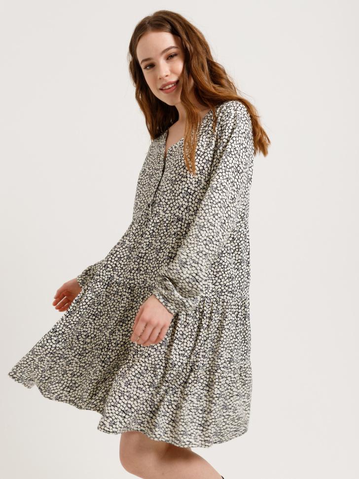SELA ярусное платье (белый принт, M)