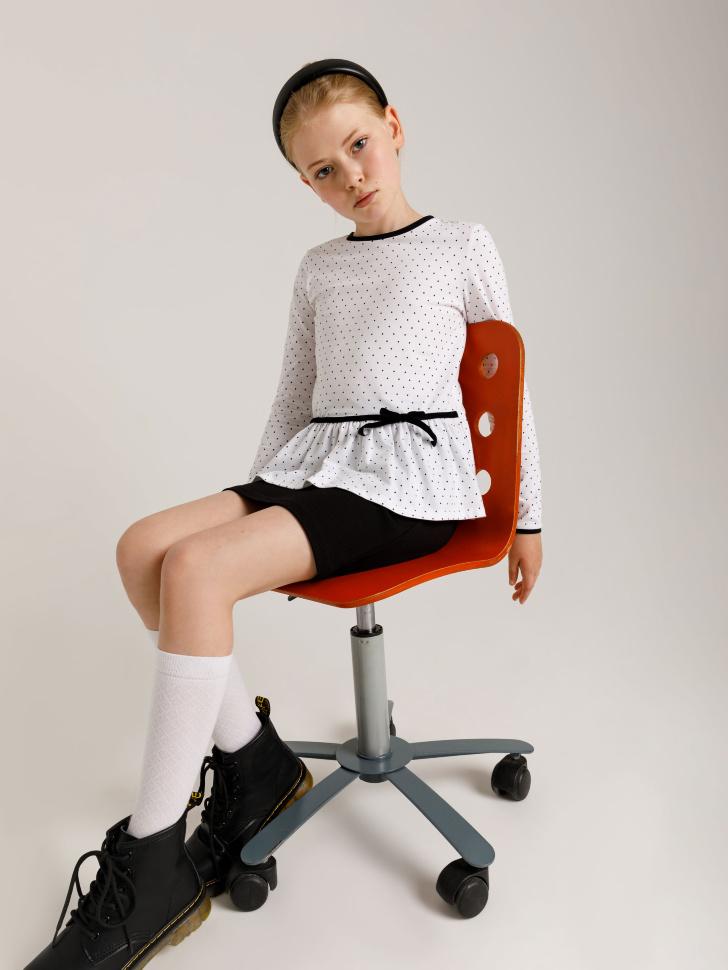 Трикотажная блузка с баской для девочек (белый принт, 146/ 11-12 YEARS)