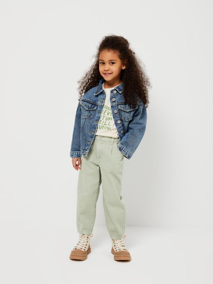Джинсовая куртка с вышивкой для девочек (синий, 98/ 3-4 YEARS)