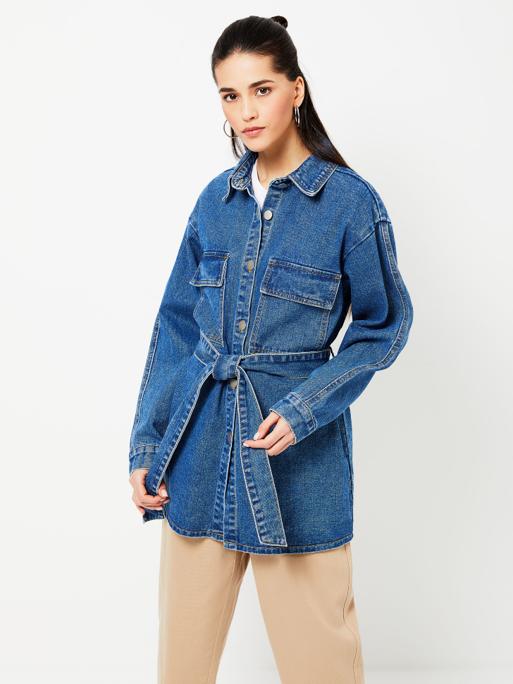 Удлиненная джинсовая рубашка с поясом (синий, S)