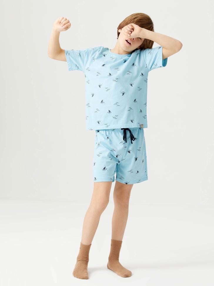 Трикотажная пижама с принтом для мальчиков (голубой, 134-140 (9-10 YEARS))