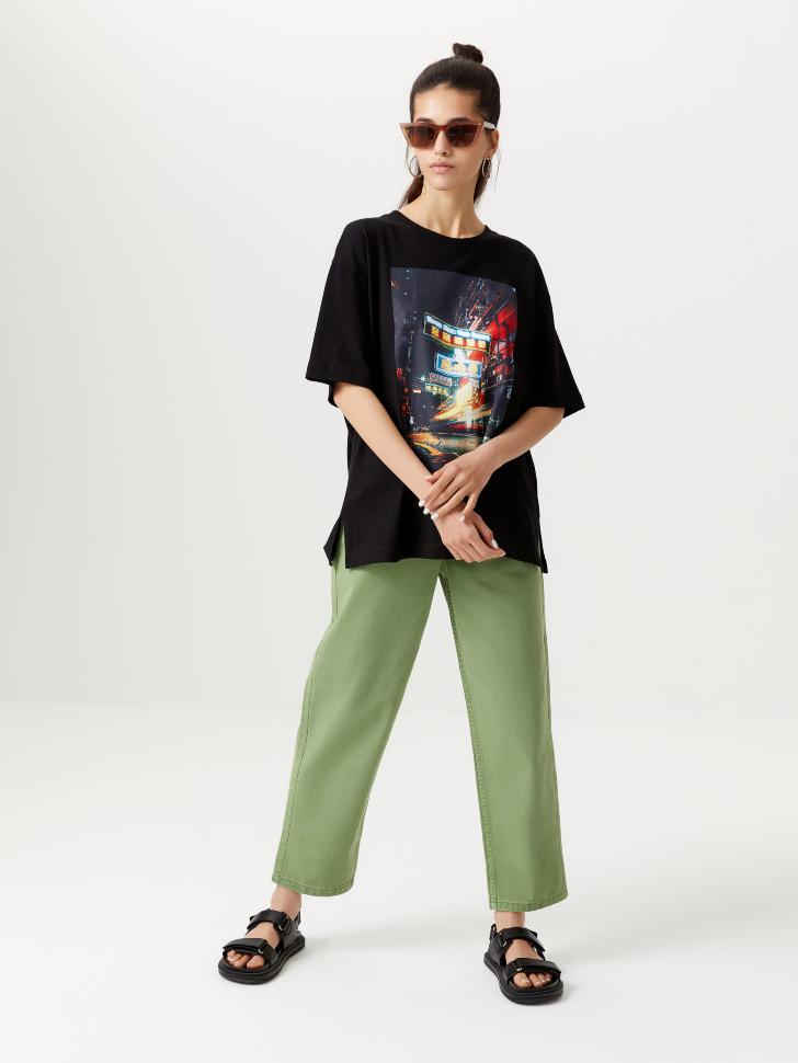 Прямые укороченные джинсы (зеленый, XL)
