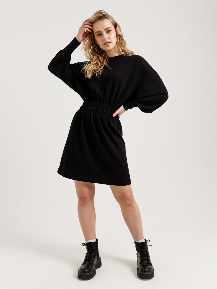 платье с пышными рукавами (черный, S)