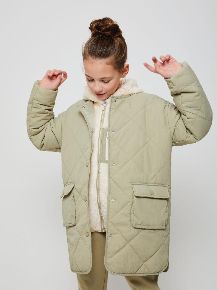 Пальто со съемной толстовкой для девочек (зеленый, 152/ 12-13 YEARS)