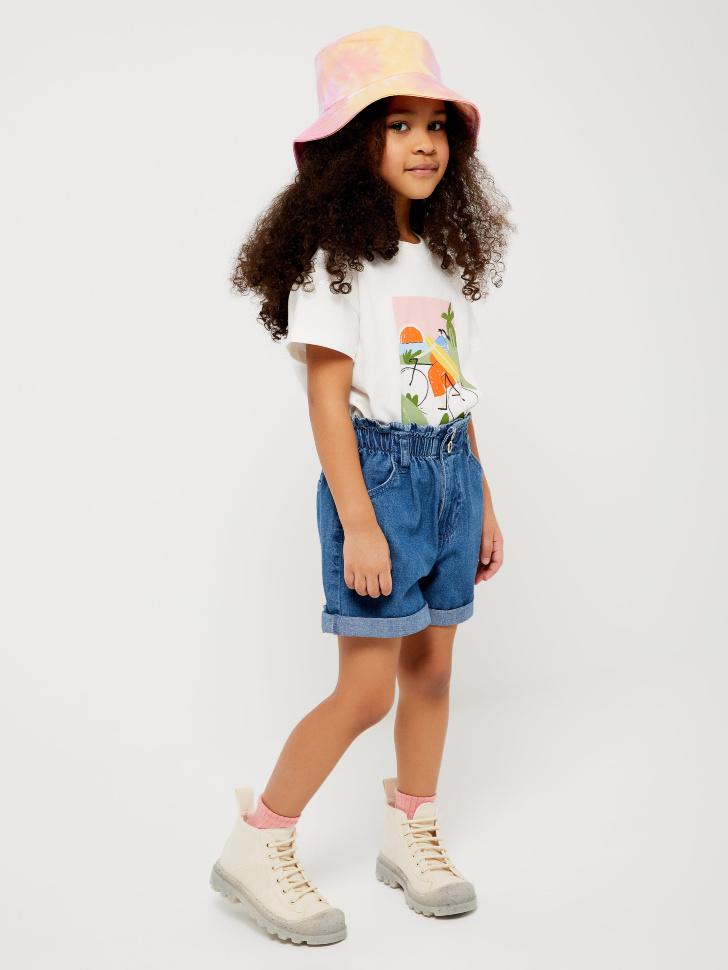 шорты джинсовые для девочек (голубой, 104/ 4-5 YEARS)