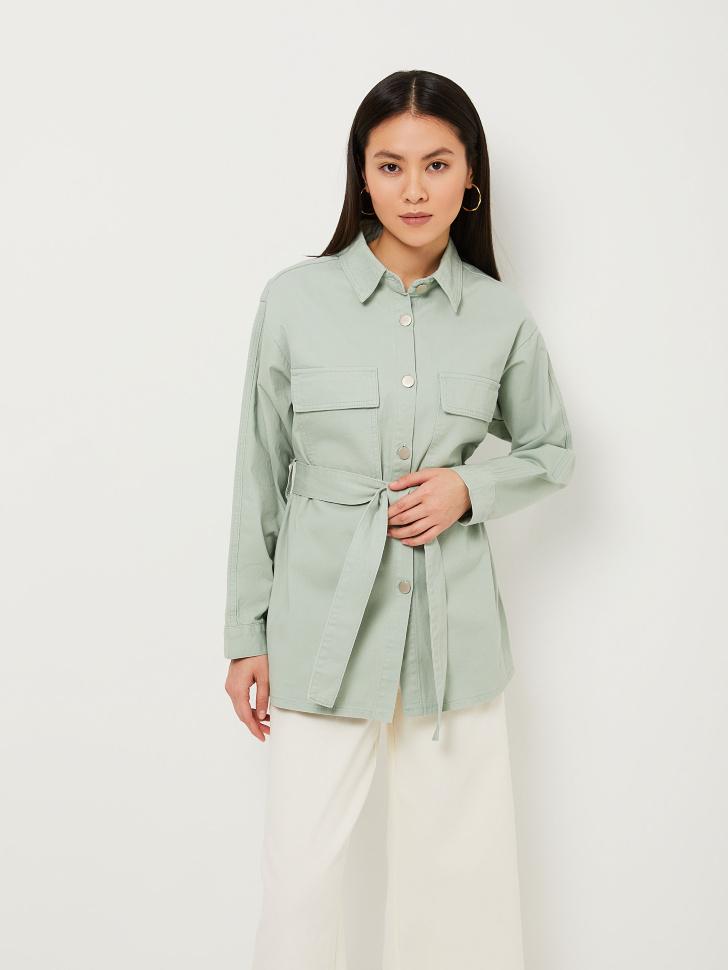 Рубашка с поясом (зеленый, S)
