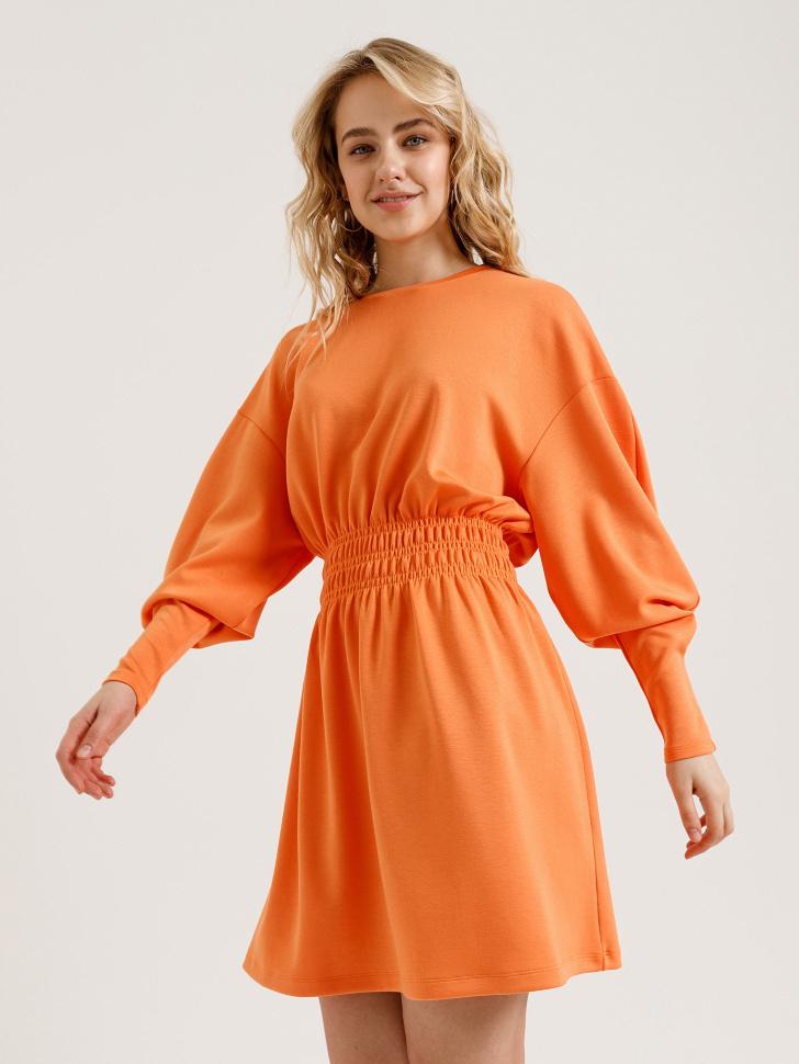платье с пышными рукавами (оранжевый, L)